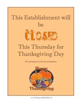 Slobbery image intended for closed for thanksgiving sign printable