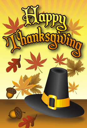 Happy Thanksgiving Pilgrim Hat Card