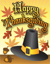Happy Thanksgiving Pilgrim Hat Card Small