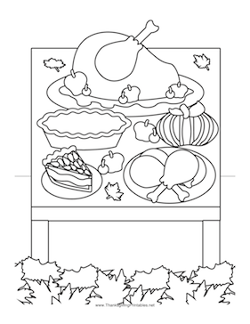 coloring pages of thanksgiving dinner - thanksgiving dinner coloring page