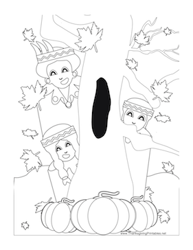 Thanksgiving Indians Tree Coloring Page
