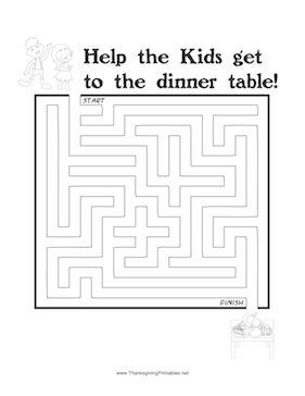 Thanksgiving Maze Kids Dinner