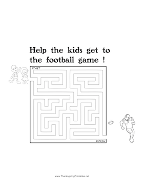 Thanksgiving Maze Kids Football