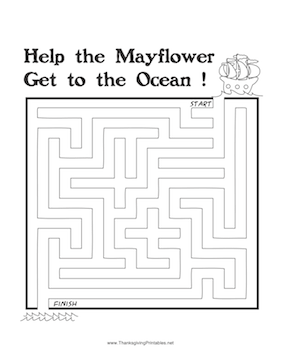 Thanksgiving Maze Mayflower
