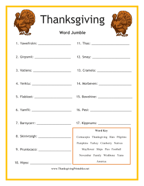 Thanksgiving Word Jumble