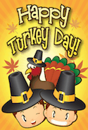 Happy Thanksgiving Pilgrim Kids Card