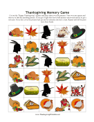 Thanksgiving Memory Game Thanksgiving Printables
